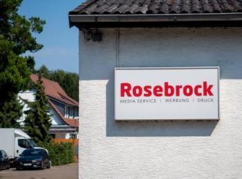 Firmenschild der Druckerei Rosebrock