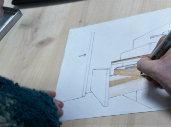 Technische Zeichnung einer Schublade